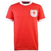 Wales Short Sleeve Kids Red Retro Football Shirt